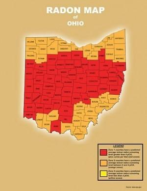 radon inspection service - Picture of Radon Map of Ohio